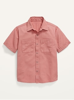 Short-Sleeve Button-Front Utility Shirt for Boys