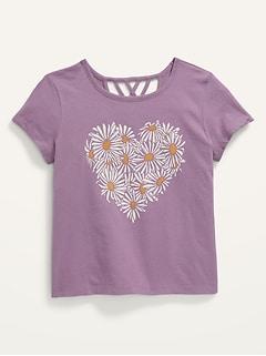 Short-Sleeve Graphic Lattice-Back Tee for Girls