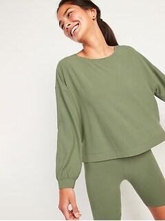 Chandail en coton ouaté Sunday Sleep court surdimensionné en tricot côtelé ultra-doux pour Femme
