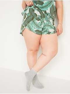 Shorts de pyjama en jersey ultra-doux taille haute à ourlet fendu, entrejambe de 8cm, taille forte