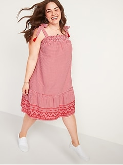 Gingham Tie-Strap Plus-Size Sleeveless Swing Dress