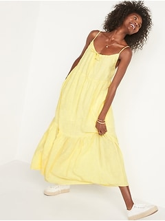 Tiered Embroidered Maxi Swing Sundress for Women