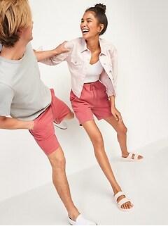 Short en molleton unisexe teint en plongée pour Homme et Femme, entrejambe de 19cm