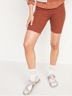 High-Waisted Rib-Knit Long Biker Shorts for Women -- 9-inch inseam