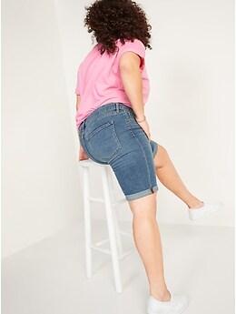Mid-Rise Medium-Wash Bermuda Jean Shorts for Women -- 9-inch inseam