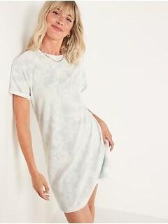 Short-Sleeve Tie-Dye Mini Sweatshirt Shift Dress for Women