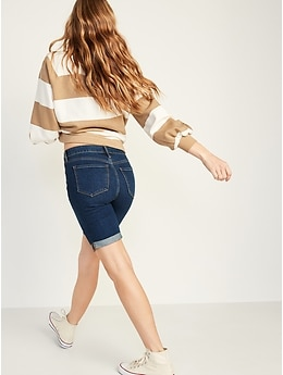 High-Waisted Cuffed Bermuda Jean Shorts For Women -- 9-Inch Inseam