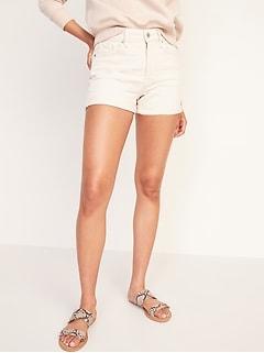 High-Waisted O.G. Straight Ecru-Wash Jean Shorts for Women -- 3-inch inseam