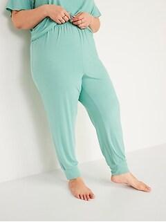 Pantalon de jogging décontracté à taille haute en jersey ultra-doux, taille forte