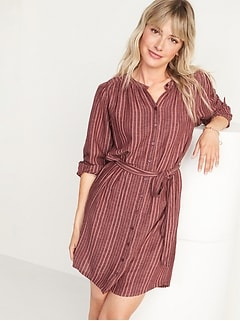 Waist-Defined Textured Dobby-Stripe Tie-Belt Shirt Dress for Women