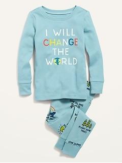 Unisex Graphic Long-Sleeve Pajama Set for Toddler & Baby