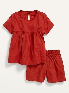 Short-Sleeve Top & Shorts 2-Piece Set for Toddler Girls