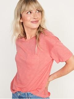 Loose Slub-Knit Easy Pocket Tee for Women