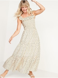 Fit & Flare Smocked Printed Maxi Dress For Women