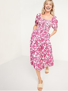 Fit & Flare Puff-Sleeve Tiered Floral Midi Dress For Women