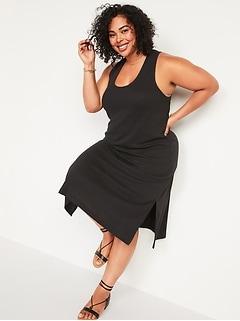 Sleeveless Cross-Back Rib-Knit Plus-Size Midi Shift Dress