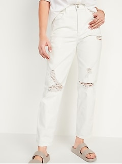 Extra High-Waisted Sky Hi Straight Button-Fly Ripped White Jeans for Women