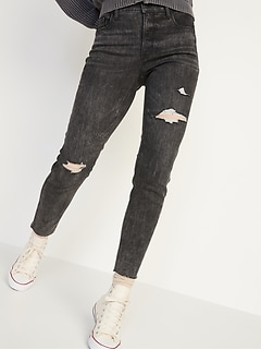 High-Waisted Rockstar Super Skinny Ripped Gray Ankle Jeans for Women