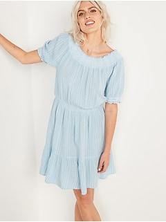 Smocked Waist-Defined Dobby-Stripe Dress for Women