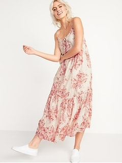 Tiered Tie-Neck Maxi Swing Sundress for Women