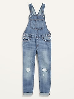 Ripped Medium-Wash Jean Overalls for Girls