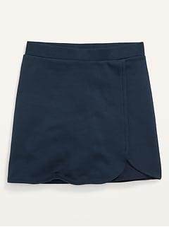 Ponte-Knit Faux-Wrap Uniform Skort for Girls