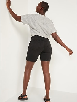 Extra High-Waisted Sky Hi Black Button-Fly Jean Shorts for Women -- 7-inch inseam