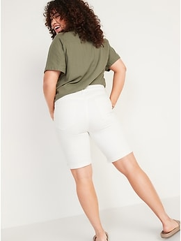 High-Waisted Ripped White Bermuda Jean Shorts for Women -- 9-inch inseam