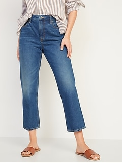 High-Waisted Slouchy Straight Cropped Jeans for Women