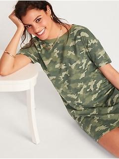 Robe t-shirt ample à imprimé camouflage rétro pour Femme