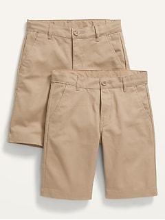Short d'uniforme droit à extensibilité intégrée pour Garçon (paquet de2)