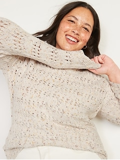 Textured Cable-Knit Plus-Size Pointelle Sweater