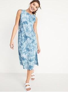 Vintage Sleeveless Tie-Dye Midi T-Shirt Shift Dress for Women