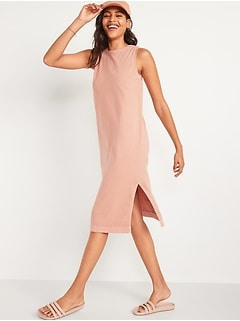 Vintage Specially Dyed Sleeveless Midi T-Shirt Shift Dress for Women