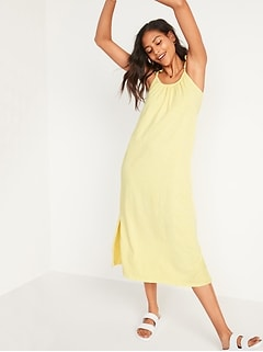 Sleeveless Specially-Dyed Tie-Shoulder Cami Midi Swing Dress for Women