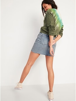 High-Waisted Button-Fly Ripped Cut-Off Jean Skirt for Women