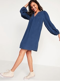 Split-Neck Pintucked Chambray Swing Dress for Women