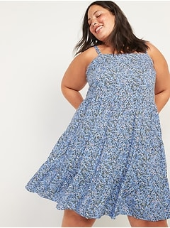 Sleeveless Tiered Floral-Print Plus-Size Swing Dress