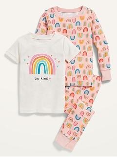 Unisex 3-Piece Printed Pajama Set for Toddler & Baby