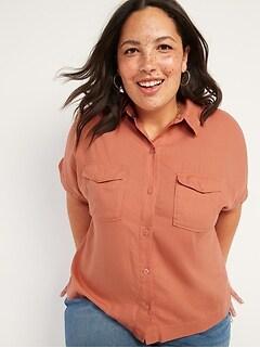 Slouchy Short-Sleeve Linen-Blend Plus-Size Utility Shirt