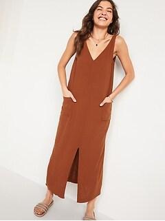 Sleeveless Split-Front Maxi Shift Dress for Women