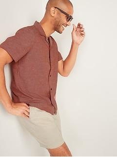 Cotton-Hemp Short-Sleeve Camp Shirt for Men