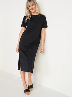 Vintage Garment-Dyed Midi T-Shirt Shift Dress for Women