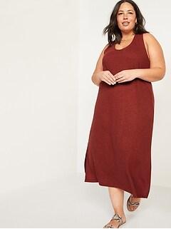 Sleeveless Cross-Back Linen-Blend Plus-Size Midi Shift Dress