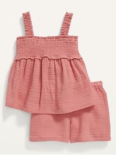 Sleeveless Smocked Dobby Top and Shorts Set for Toddler Girls