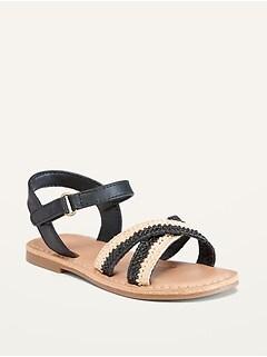 Sandales à brides croisées en similicuir pour Toute-petite fille