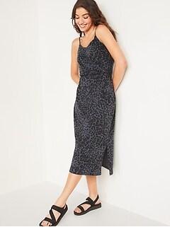 Waist-Defined Leopard-Print Slub-Knit Cami Midi Dress for Women