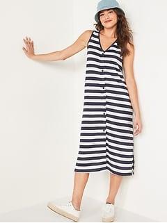 Sleeveless Button-Front Midi Shift Dress for Women