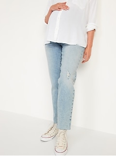 Maternity Full Panel O.G. Straight Ripped Jeans