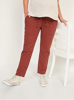 Maternity Rollover-Waist Textured Twill Utility Ankle Pants